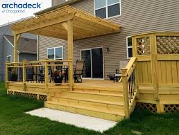 wood deck with pergola by chicago suburb deck builder archadeck of