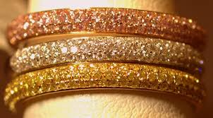 gold pave rings images Set of 3 colored diamond pave rings engagement rings jeweler