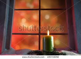 frosted window christmas decoration stock photo 118482658