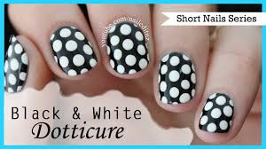black and white dotticure nail art for short nails 5 youtube