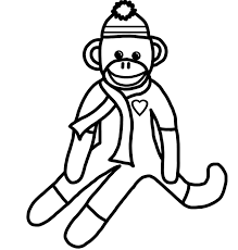 sock monkey coloring pages for pages eson me