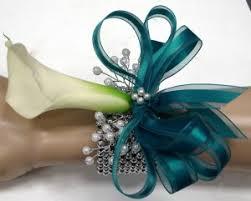 teal corsage winter wedding white and teal cala lillies mini calla