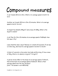 compound measures free worksheets doingmaths free maths