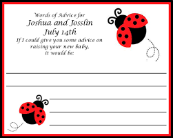 Words Of Wisdom Cards Lady Bug Baby Shower Advice Cards