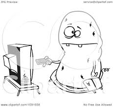 Couch Potato Tv Clipart Outlined Fat Couch Potato Flipping Through Channels On The