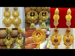 gold ear ring image gold earring designs catalogue 22k gold earrings स न क