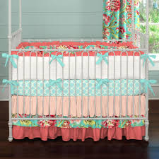 baby nursery coral and teal floral crib bedding ba bedding