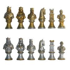 hand painted polystone medieval pedestal chess pieces