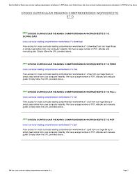 Cross Curricular Reading Comprehension Worksheets Cross Curricular Reading Comprehension Worksheets E7 O