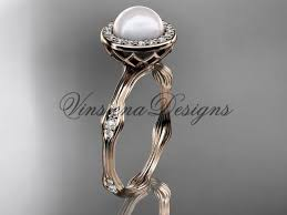 pearl and diamond engagement rings 14k gold pearl diamond halo engagement ring vfp301011