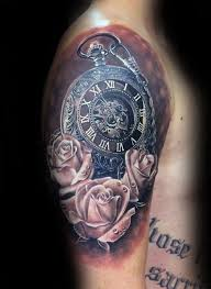 pocket watch realistic rose half sleeve tattoos for men u2026 pinteres u2026