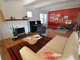 Rug Trim Red Sofa Warm Colors Sectional Leather Ottoman Window Shelf Walls