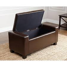 abbyson living sawyer leather storage ottoman dark brown