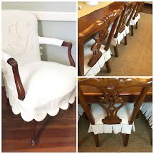 Dining Room Chair Slip Cover Dining Chair Slipcovers Chairs In Monogrammed Scalloped