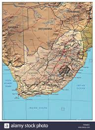Africa Country Map South Africa Country Physiography Map Stock Photo Royalty Free