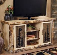 Tv Table Design Wood Log Tv Console Stand W Tile Inserts Country Rustic Wood Table