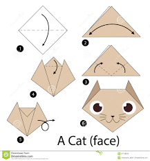 Step By Step Origami For - step by step how to make origami a cat stock vector