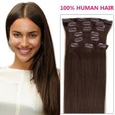 remy hair extensions 18 inch brown col 2 clip in human hair