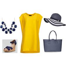 navy yellow casual dress polyvore
