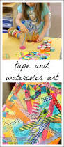 colorful tape and watercolor art for kids