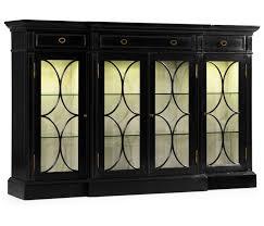Break Front Cabinet Four Door Breakfront Black Display Cabinet