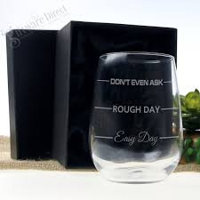 easy day rough day stemless wine glass unique engraved mothers