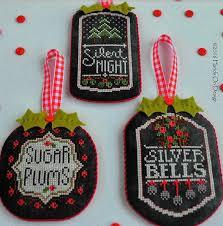 counted cross stitch pattern chalkboard ornaments