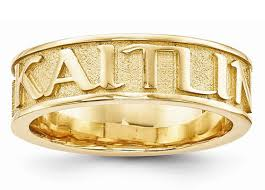 wedding band names textured custom name band ring in 14k yellow gold