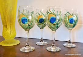 diy painted wine glasses with peacock feather design