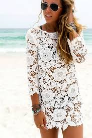 cover up lace hollow crochet swimsuit beach dress