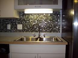 tiles backsplash kitchen decoration using light with blue glass