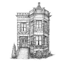 classic home portrait house drawing architectural uncommongoods