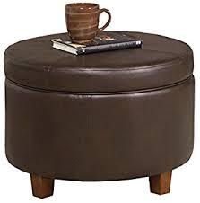 large round leather ottoman amazon com winston large round storage ottoman kitchen dining