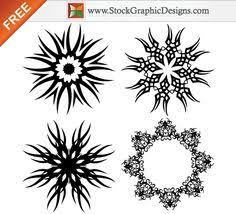 earth wind fire water moon star shaped tattoo hand drawn