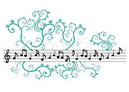 black notes with ornament on the white background stock