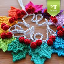 pdf crochet pattern rainbow holly garland instant download