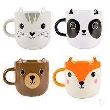kawaii friends animal cat panda bear fox ceramic mug retro gift
