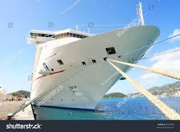 caribbean cruise ship docked on island stock photo 7922974
