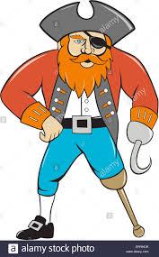 captain hook pirate wooden leg cartoon stock photo royalty free
