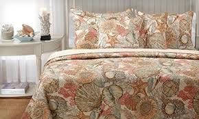 Starfish Comforter Set Brushed Ashore Coastal Coral Seashell Quilt Bedding Set