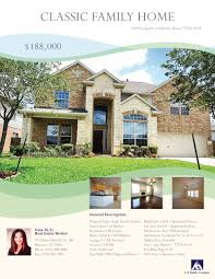 marketing flyer for a house in houston area graphic u0026 logo