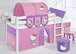 Lilo Jelle Hello Kitty Kids Bed With Curtain Bunk Bed White - Hello kitty bunk beds