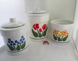 ceramic canisters for the kitchen vintage ceramic kitchen canisters etsy