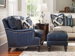 navy blue chair and ottoman furniture blue leather upholstered armchair gold nailhead trim