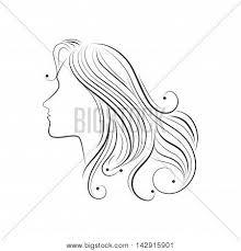 hair sketch female side lady vector u0026 photo bigstock
