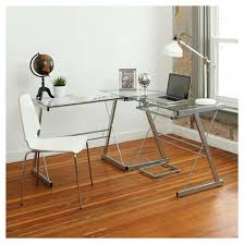 Corner Computer Table Home Office L Shaped Corner Computer Desk Silver Saracina Home