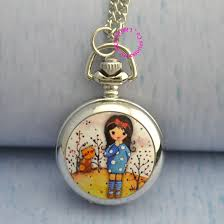 pocket watch necklace wholesale images Wholesale women drawing flower cute girl pocket watch necklace jpg