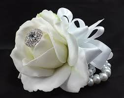 white corsages for prom ready to ship white and navy wrist corsage white