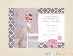 2nd Birthday Invitation Card Elephant Birthday Invitations Kawaiitheo Com