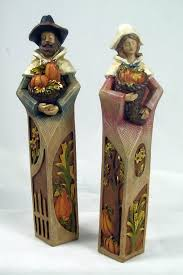 thanksgiving pilgrim figurines 10 inch pilgrim figurine set of 2 thanksgiving harvest new 27 05